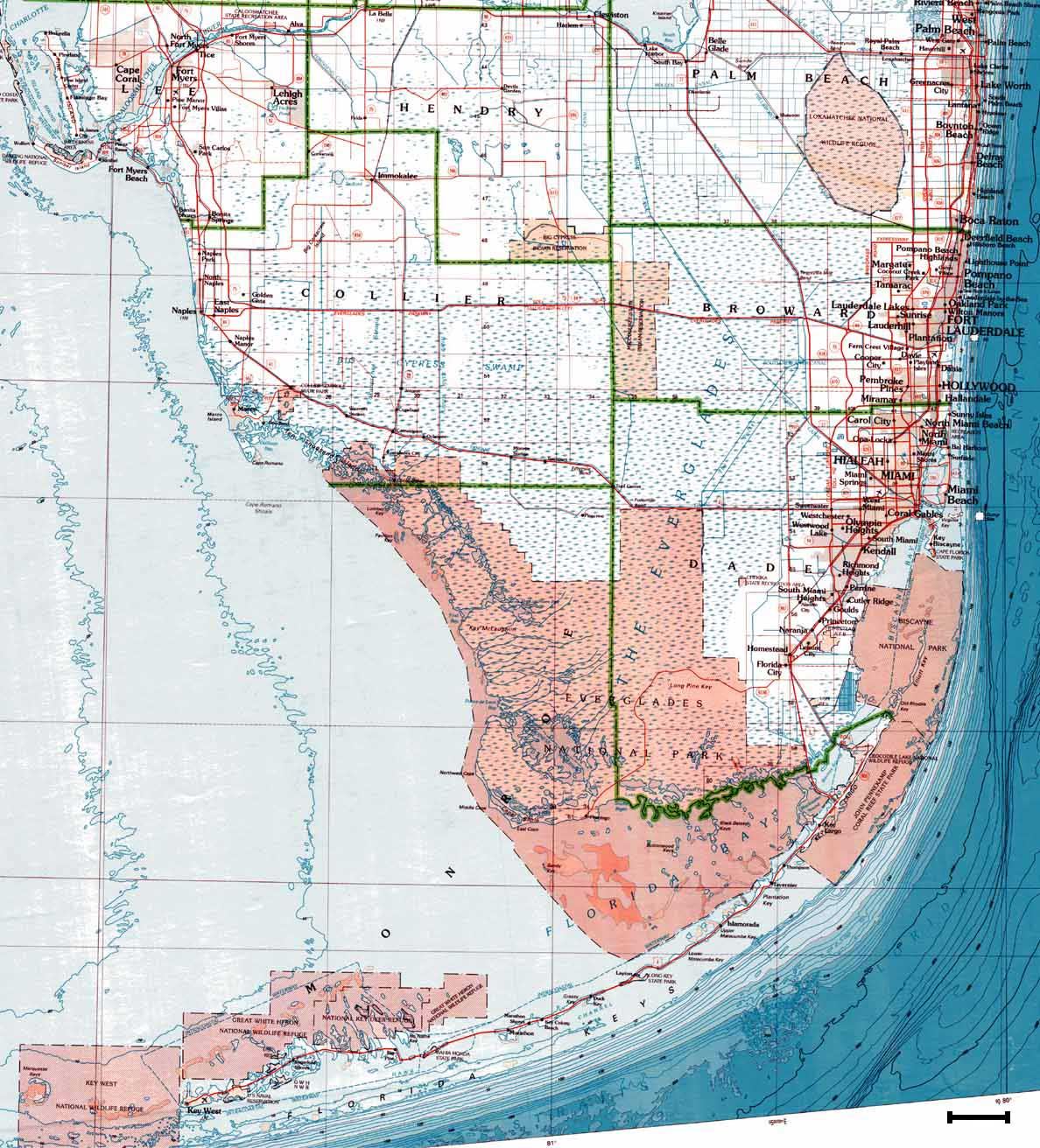 Map Of South Florida Red - Florida elevation map