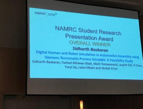 Congratulations Sidharth for SME NAMRC Best Presentation Award