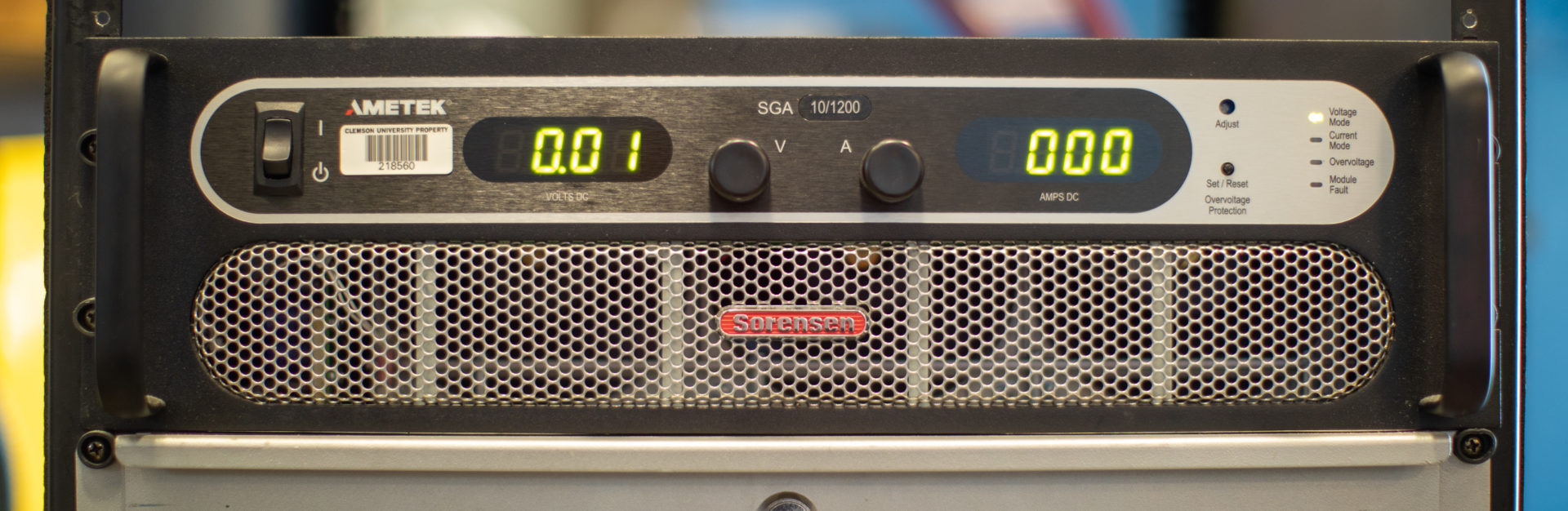 Image of front panel of power supply used in manufacturing lab