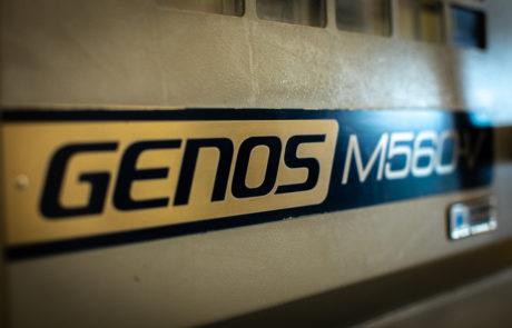 Close up view of the GENOSM560-V logo