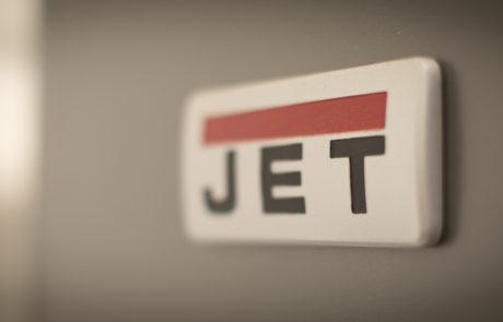 Close up view of JET logo