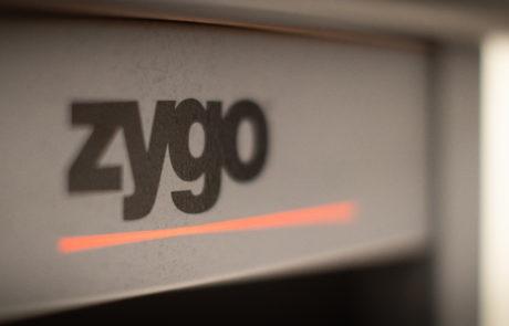Close up view of Zygo logo